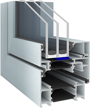 Prinzipdarstellung einer Verklebung im Falzgrund eines Fensters.